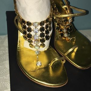 Giuseppe Zanotti Design Gold with Rhinestones Heel